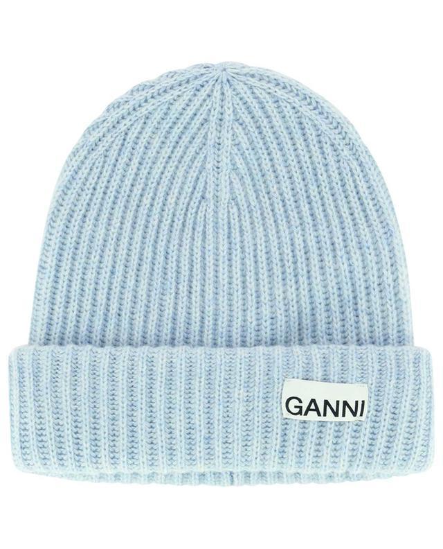 Bonnet en maille de laine recyclée côtelée GANNI