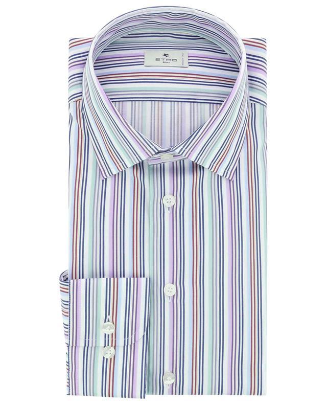 Chemise à manches longues en coton à fines rayures multicolores ETRO