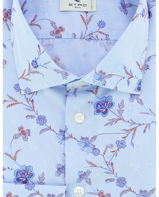 Chemise slim à rayures fines en jacquard imprimé fleurs ETRO
