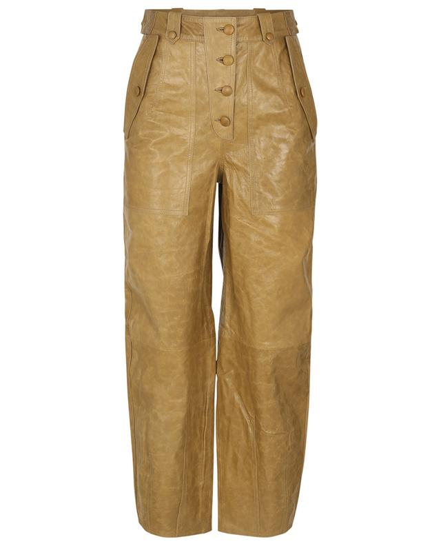 Pantalon carotte taille haute en cuir Jupiter ULLA JOHNSON