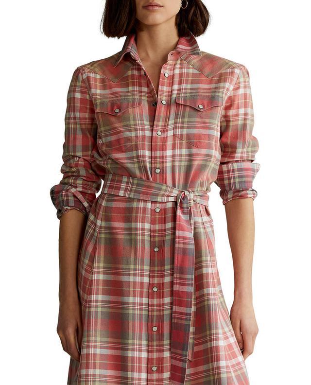 Robe chemise midi en coton à carreaux POLO RALPH LAUREN