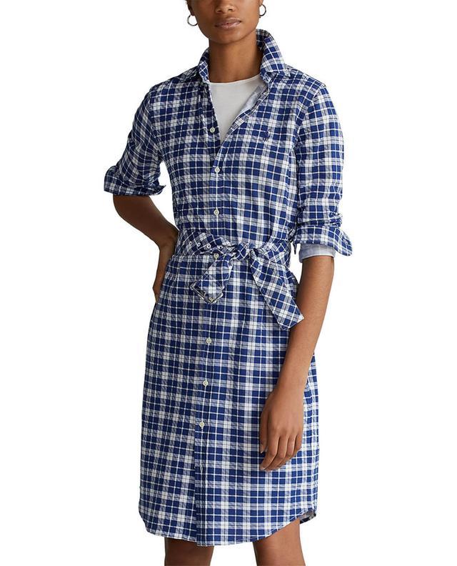 Robe chemise courte à carreaux en coton piqué POLO RALPH LAUREN