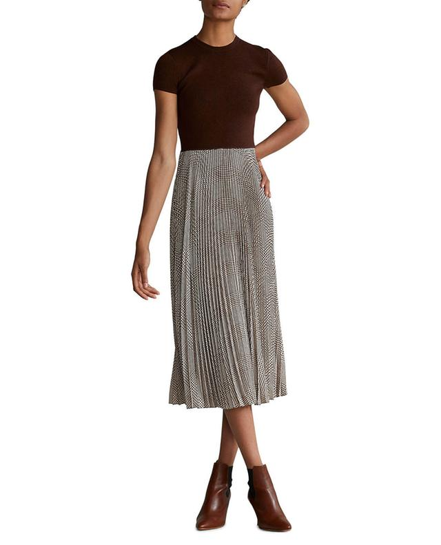 Robe midi bi-matière à jupe plissée à carreaux POLO RALPH LAUREN