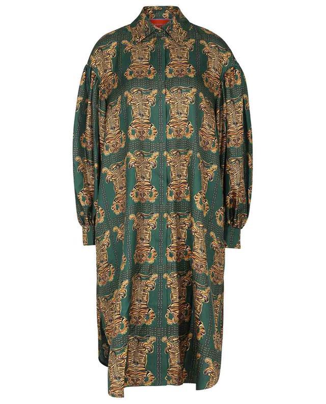 Robe chemise en sergé de soie Big Shirt Tiger Tiles LA DOUBLEJ