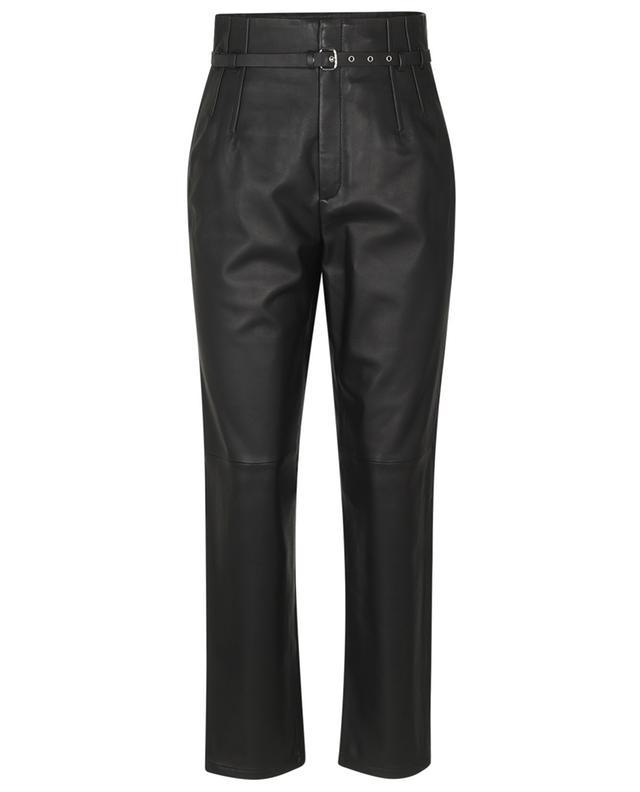 Pantalon carotte taille haute en cuir avec ceinture RED VALENTINO