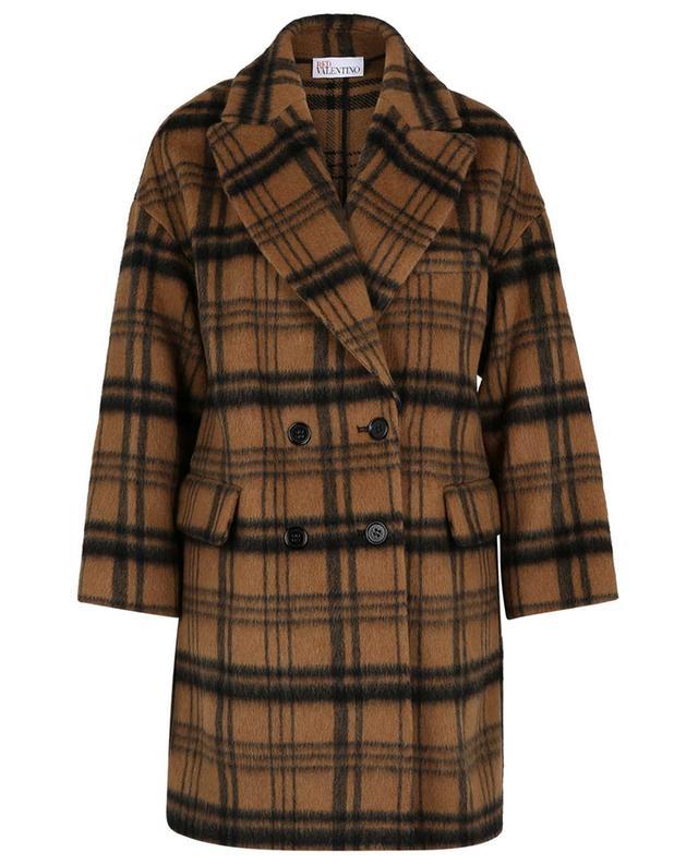 Manteau oversize à boutonnage double en laine à carreaux macro RED VALENTINO