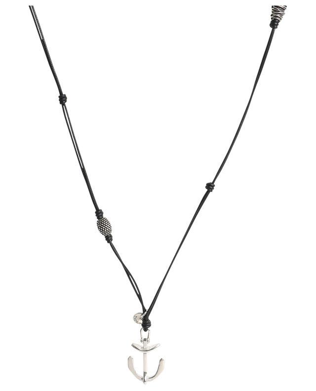 Collier en cuir avec pendentif et perles argentées ANDREA D'AMICO