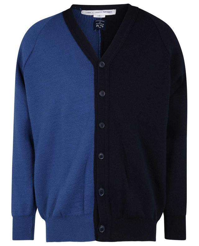 Cardigan bicolore boutonné à col V COMME DES GARCONS SHIRT