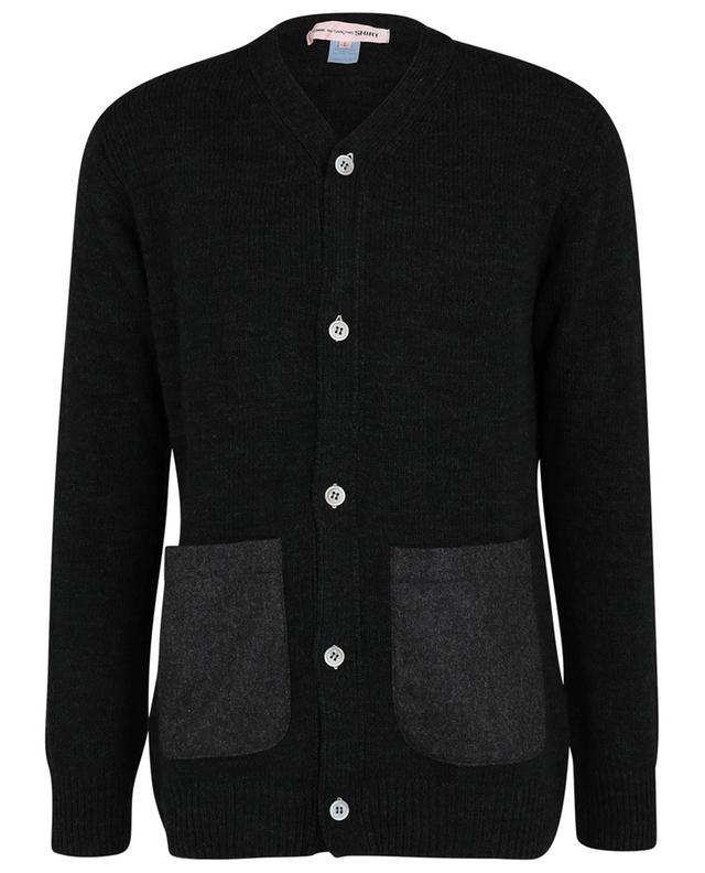 Cardigan boutonné à col V et poches contrastées COMME DES GARCONS SHIRT