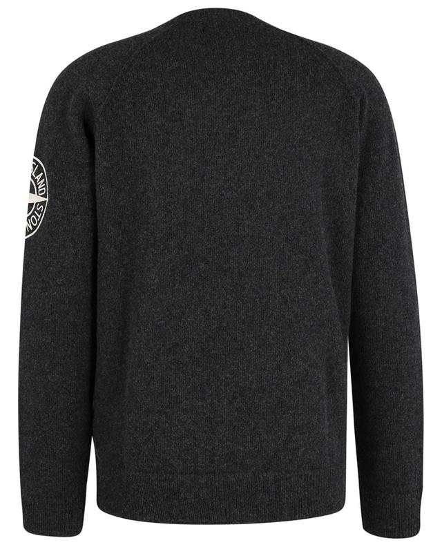 Pull col rond gris en laine STONE ISLAND