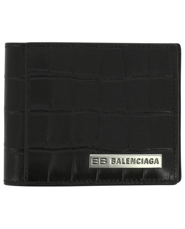 Portefeuille en cuir effet croco Plate Squared Folded BALENCIAGA