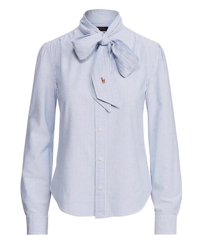 Chemise rayée en coton à lavallière Pony POLO RALPH LAUREN