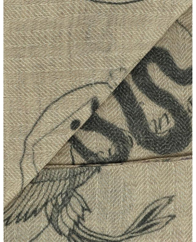 Foulard carré en laine et cachemire Inked MALA ALISHA