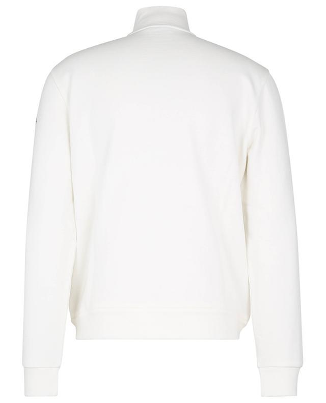 Sweat-shirt zippé à col montant, logo et rayure bleu-blanc-rouge MONCLER