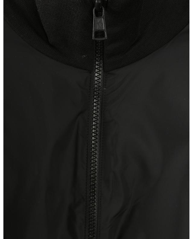 Sweat-shirt zippé en nylon et molleton rayures logo MONCLER