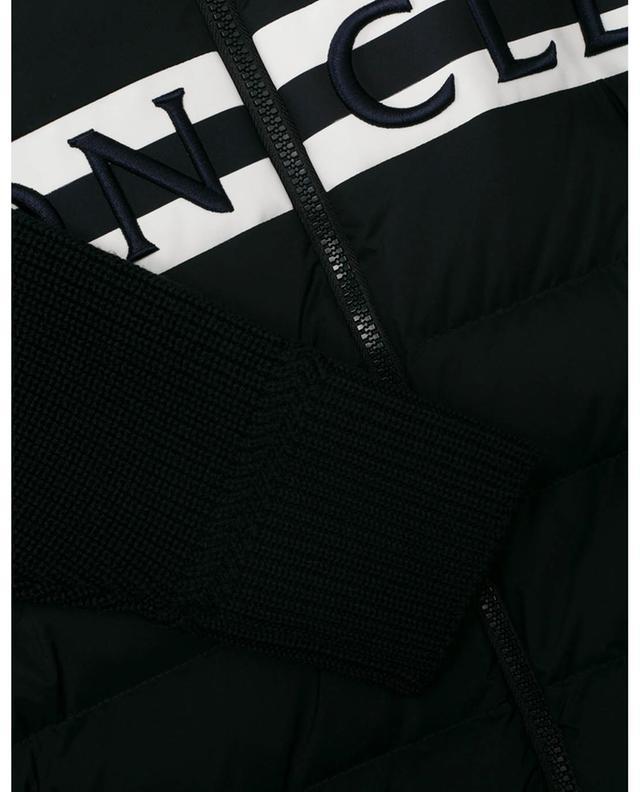 Cardigan côtelé à empiècements matelassés brodé logo MONCLER
