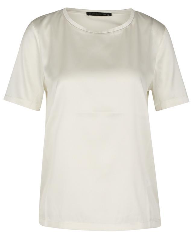 T-shirt en satin brodé de perles FABIANA FILIPPI