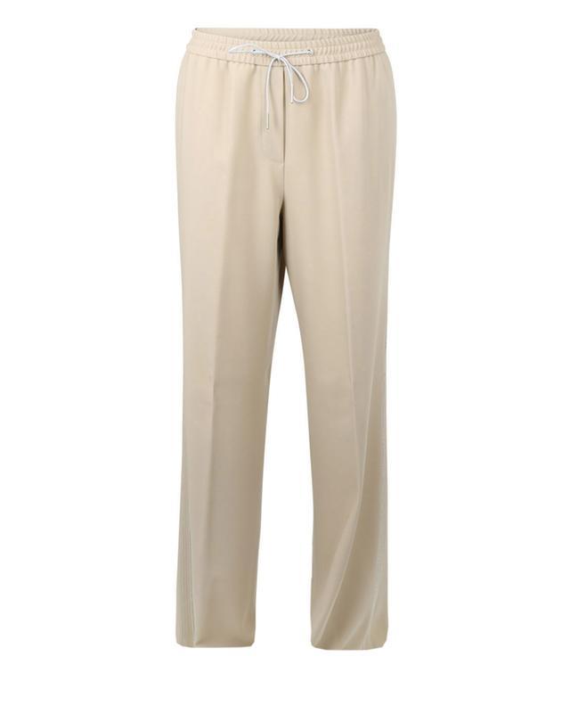 Pantalon large en laine fluide à rayures perlées FABIANA FILIPPI