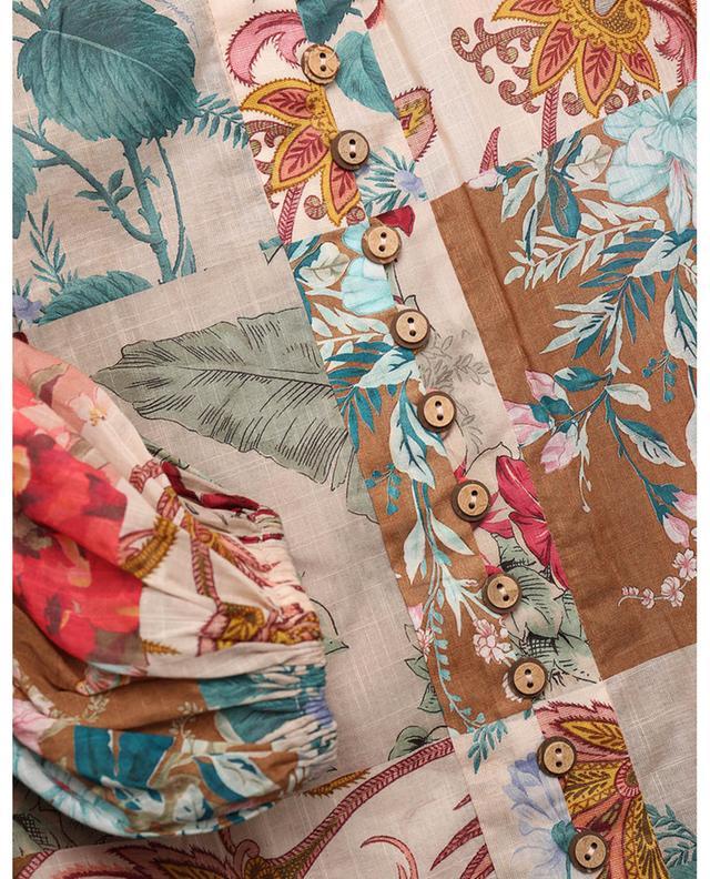 Mini robe en voile de coton Cassia Drop Waist Patchwork Floral ZIMMERMANN