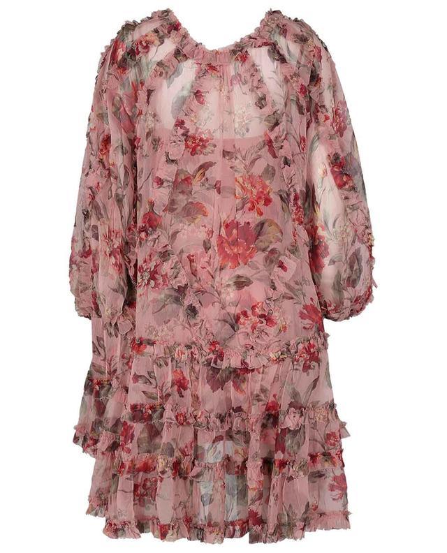 Mini robe en georgette de soie fleurie Cassia Frill Billow ZIMMERMANN