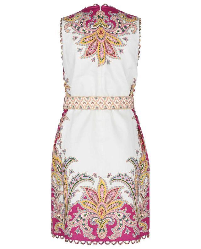 Mini robe en lin imprimée pailsey Teddy Scallop Shift ZIMMERMANN