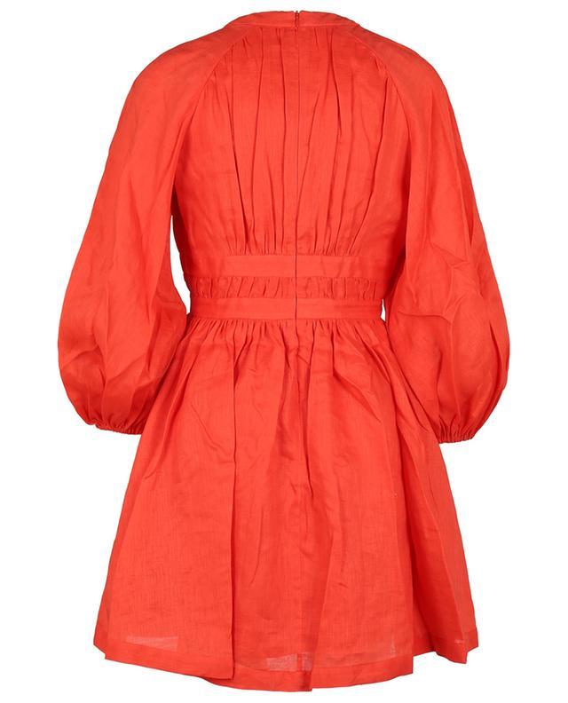 Mini robe en lin à manches bouffantes Shelly Plunge Bow ZIMMERMANN