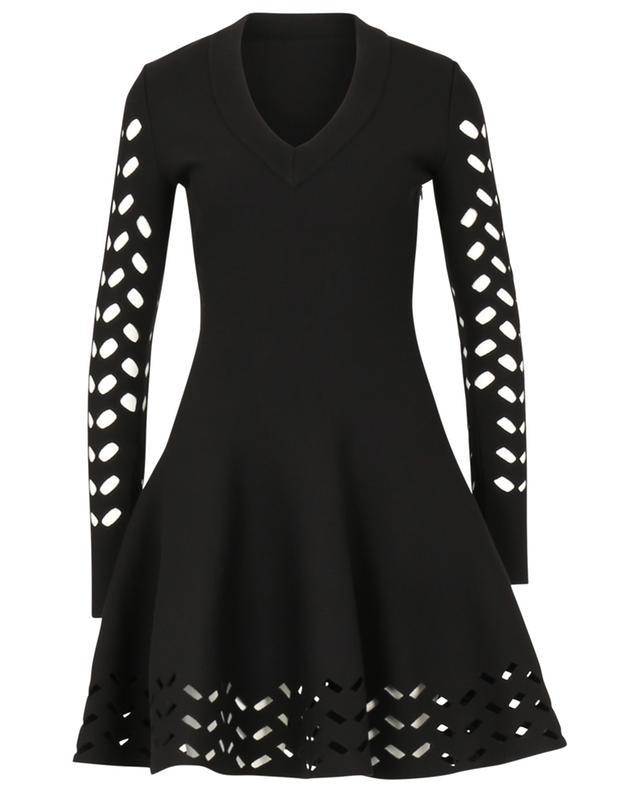 Mini robe en maille ajourée chevron ALAIA