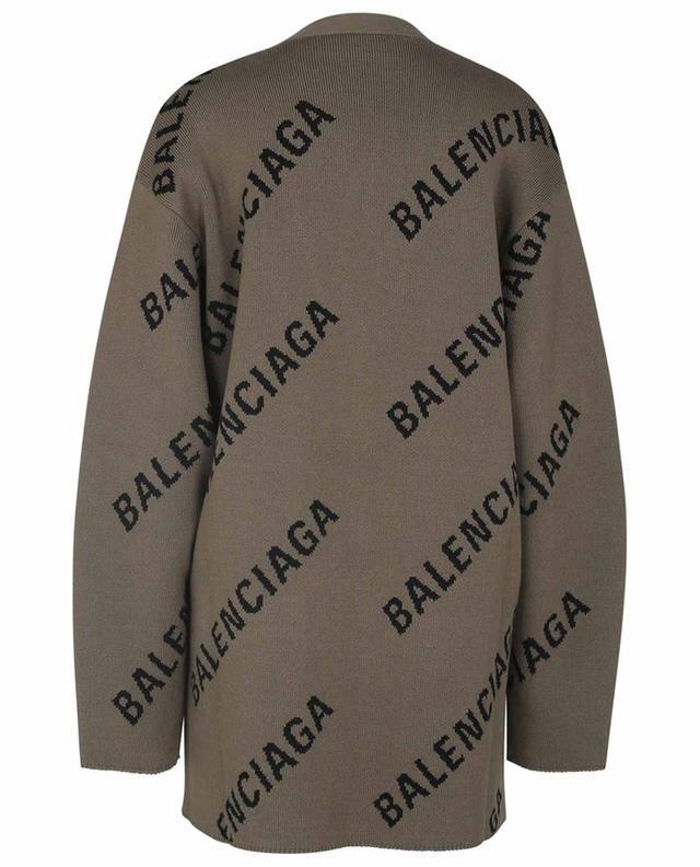 Cardigan oversize à col V en maille jacquard Allover Logo BALENCIAGA