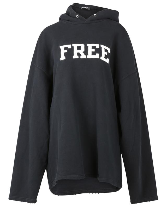 Sweat-shirt à capuche effet vieilli Free No Rib BALENCIAGA