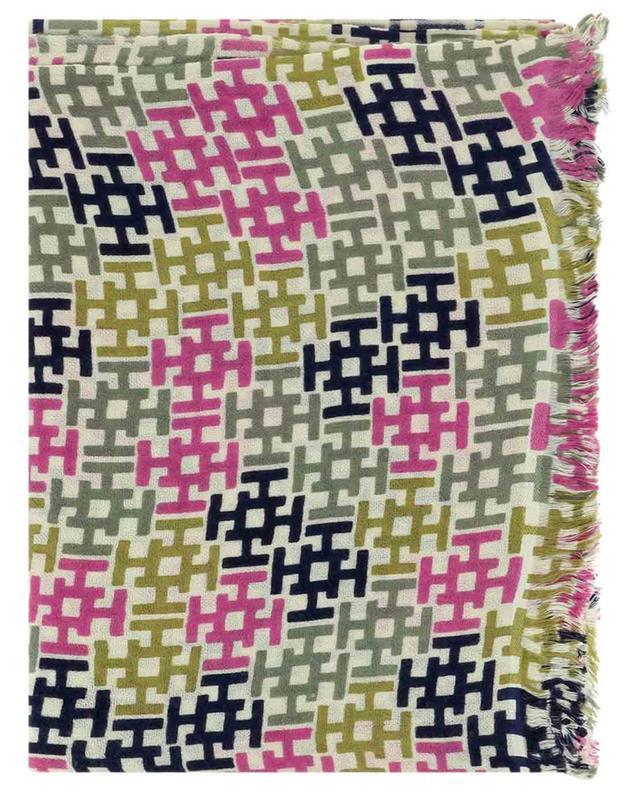 Écharpe fine ornée de monogrammes tricolores Aliki HEMISPHERE