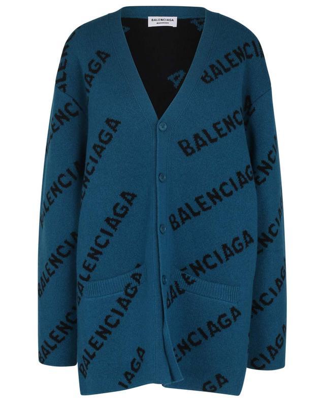 Cardigan oversize en jacquard de laine Allover Logo BALENCIAGA
