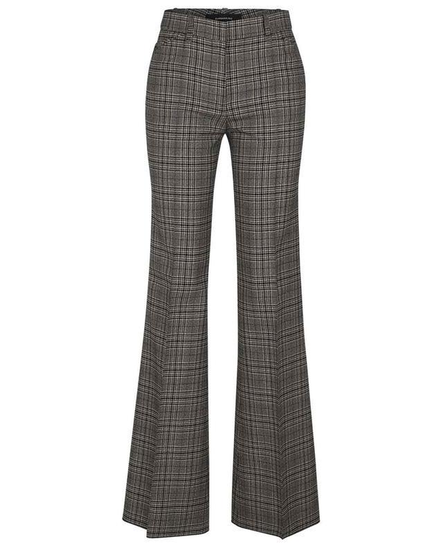 Pantalon évasé en laine à carreaux prince-de-galles BARBARA BUI