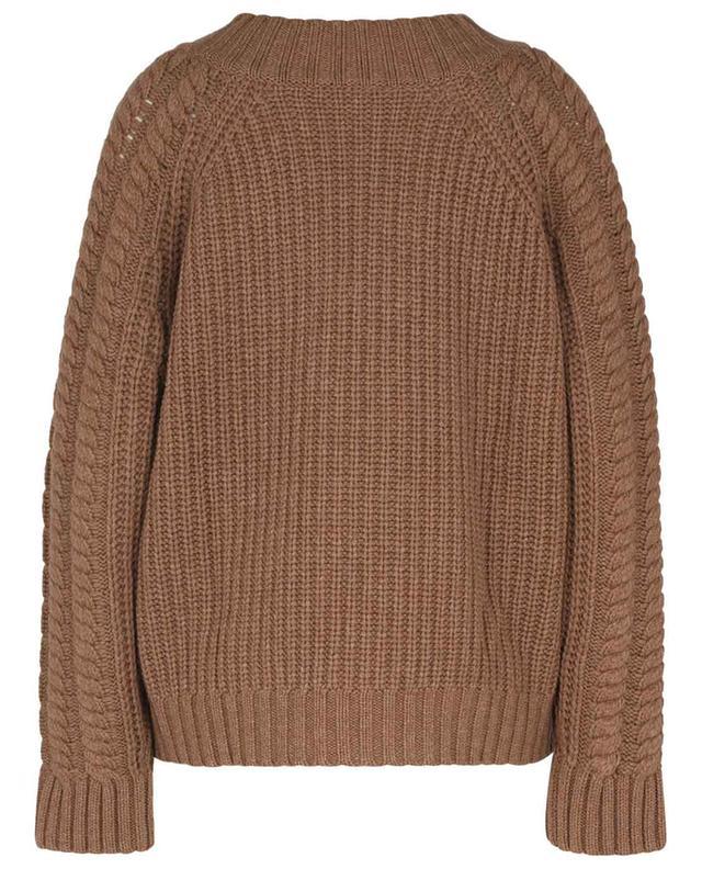 Pull ample en maille de laine et cachemire torsadée à col V BARBARA BUI