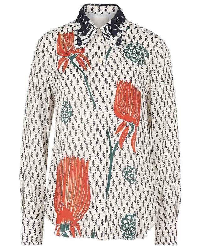 Chemise en crêpe imprimée tulipes à col papillon CHLOE