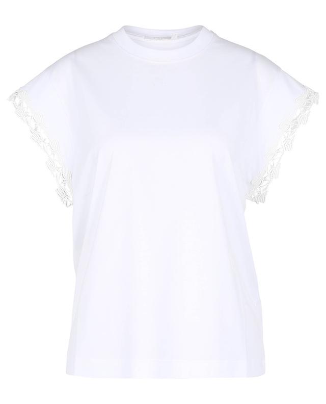 T-shirt en coton biologique à dentelle tulipe CHLOE