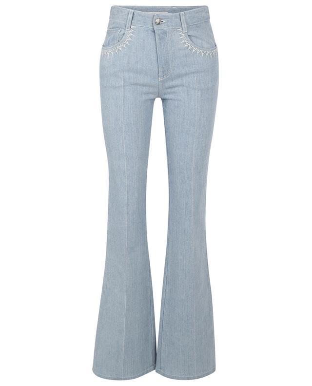 Jeans bootcut en denim recyclé clair brodé CHLOE