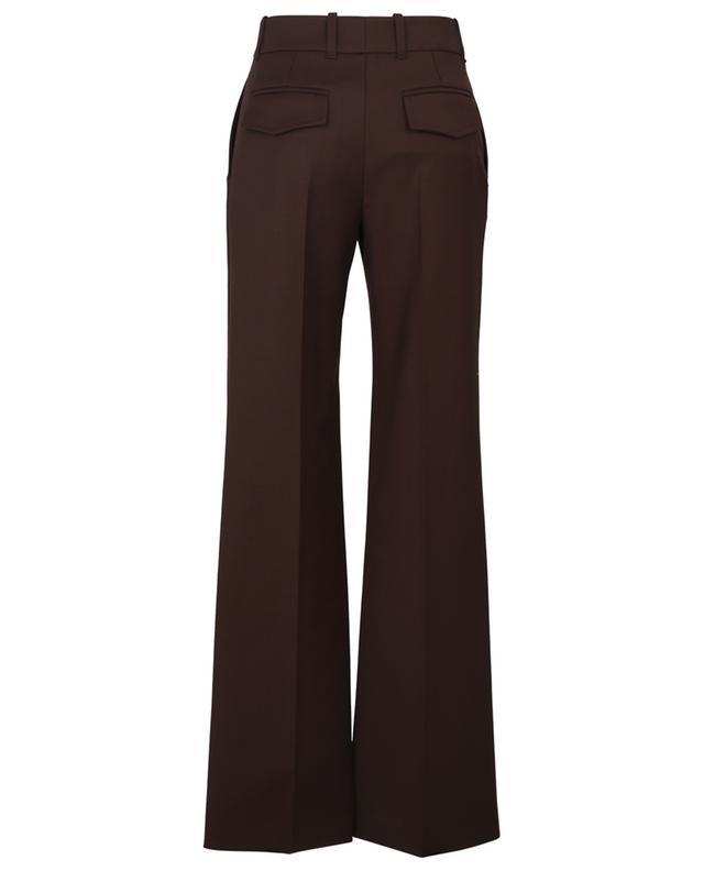 Pantalon large évasé en laine stretch à bouton céramique CHLOE