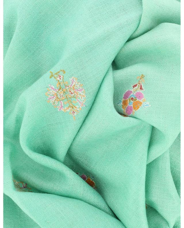 Écharpe en cachemire fin brodée Modern Embroidery Butida Flowers PINK MAHARANI