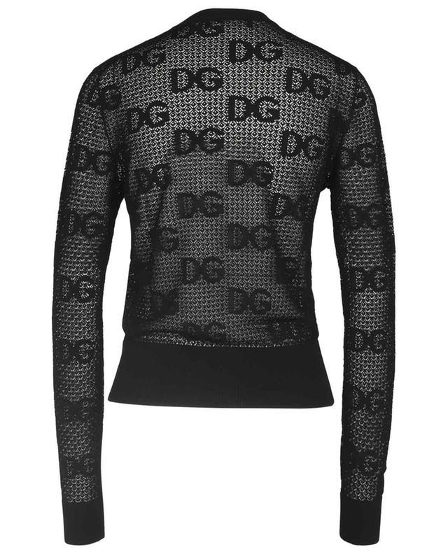 Cardigan à col rond en maille dentelle motif DG logo DOLCE & GABBANA