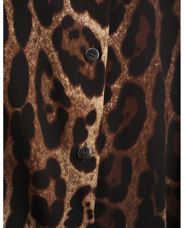 Chemise cintrée en soie imprimée léopard à épaulettes DOLCE & GABBANA