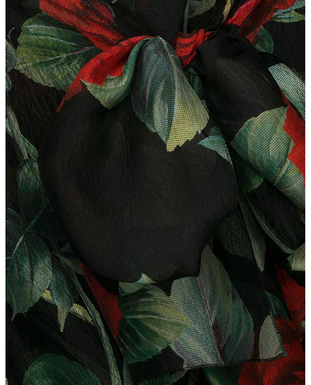 Blouse en mousseline de soie imprimée roses à lavallière DOLCE & GABBANA