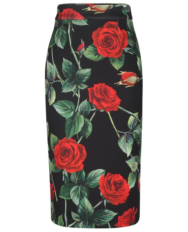 Jupe midi imprimée roses en jersey DOLCE & GABBANA