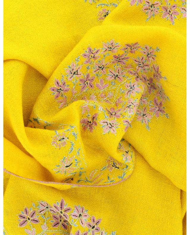 Foulard en cachemire motif fleurs Modern Embroidery Paldar PINK MAHARANI