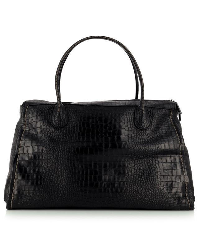 Grand sac à main en cuir effet crocodile Clea 21226 Nilo Nero PLINIO VISONA'