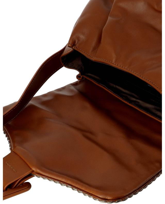 Sac à main bandoulière en cuir lisse Bellavita 21511 Nuvolato Brandy PLINIO VISONA'