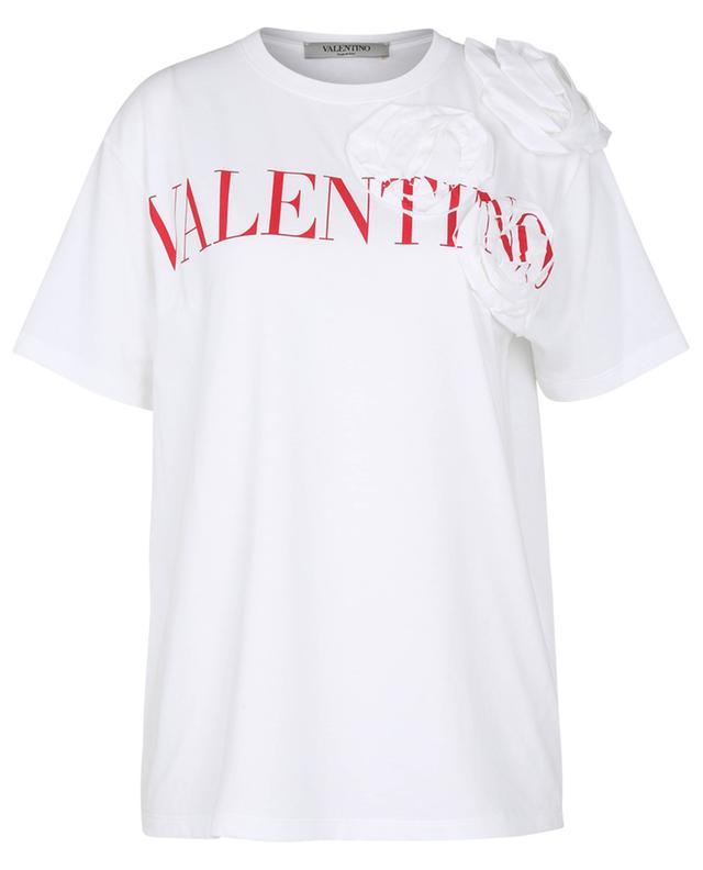 T-shirt imprimé logo et orné d'applications Rose Blossom VALENTINO