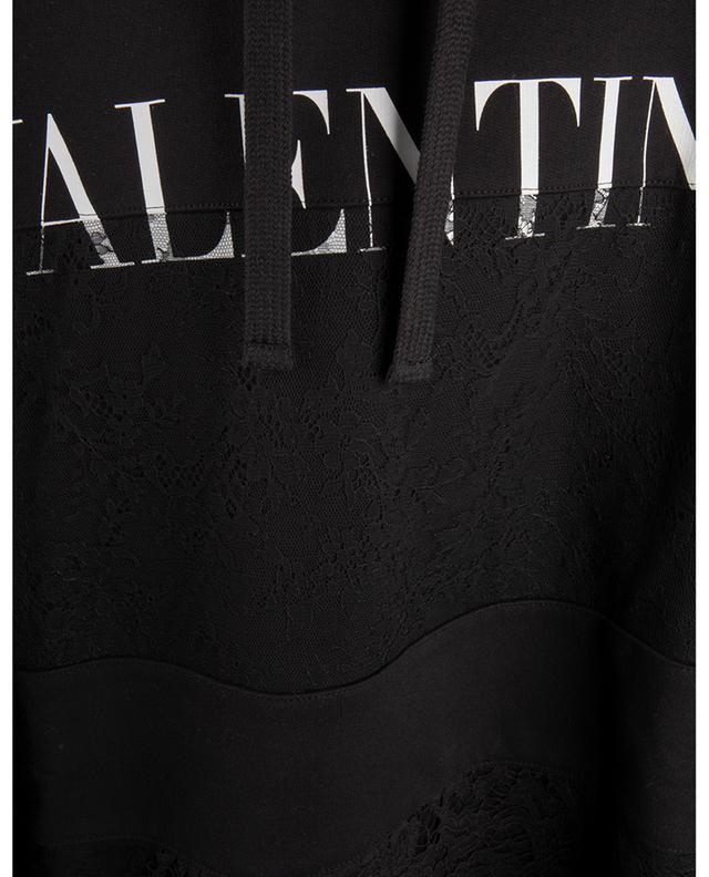 Sweat-shirt à capuche avec dentelle imprimé logo VALENTINO