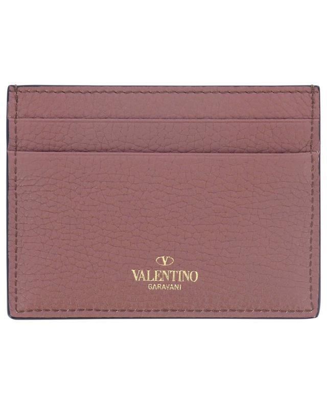 Petit porte-cartes en cuir grainé Rockstud VALENTINO