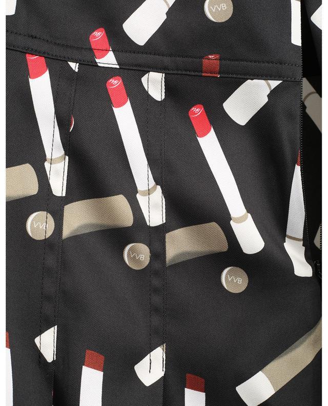 Robe chemise courte en sergé imprimé rouges à lèvres VICTORIA VICTORIA BECKHAM