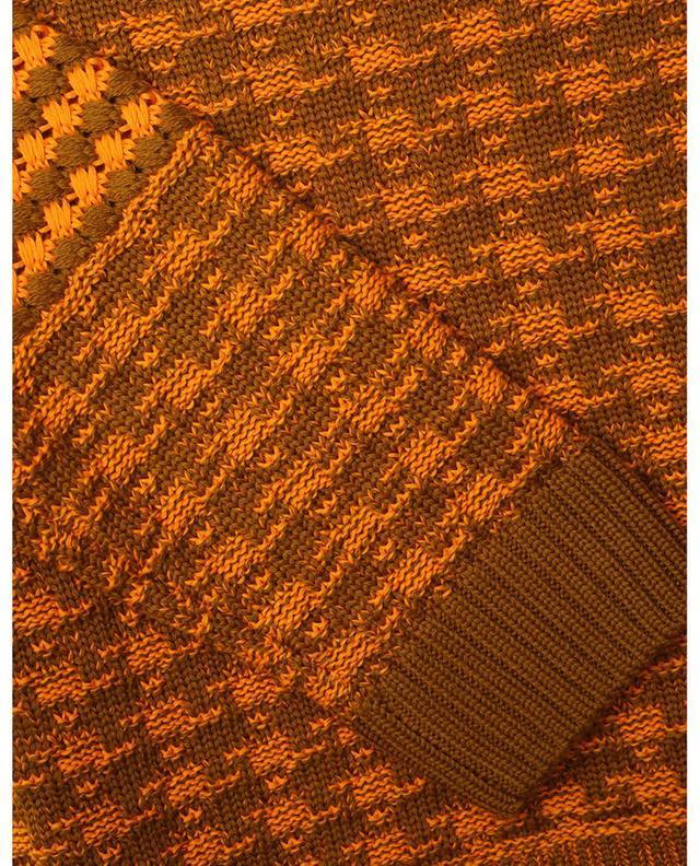 Pull motif pied-de-poule en camel et orange VICTORIA BECKHAM